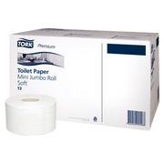 Papier toilette Mini Jumbo double épaisseur Tork T2 Premium - 12 rouleaux de 170 m