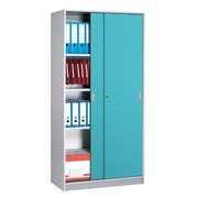 Wooden cupboard 180 x 90 cm body in aluminium - sliding doors in prune