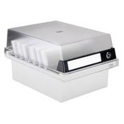 Boîte pour fiches 105 x 148 mm à serrure grise