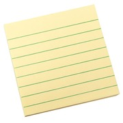Notes repositionnables jaune ligné Post-it 76 x 76 mm - bloc de 100 feuilles