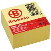 Bloc cube repositionnable jaune Bruneau 76 x 76 mm - bloc de 400 feuilles