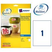 Box of 10 super strong labels Avery J 4775 210 x 297 mm white for inkjet printer