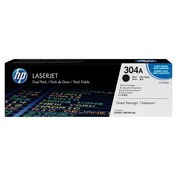 HP 304A - CC530AD Pack 2 toners noirs pour imprimante laser