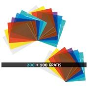 Pack 200 chemises coin plastique Bruneau A4 PVC 15/100e couleurs assorties + 100 offertes