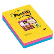 Block 90 colored Rio Super Sticky Post-it notes 101 x 152 mm, lined