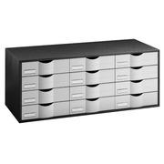 Grey storage cupboard, with 12 black drawers