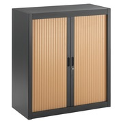 Union, dismountable tambour cabinet, H 100 cm, anthracite body, beech tambours