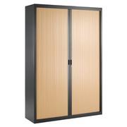 Tambour door cabinet, specific width, 200 x 140 cm, anthracite body, beech tambour doors