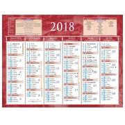 Halbjahreswandkalender 2018 - 13,5 x 17,5 cm rot