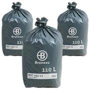 Vuilniszak Bruneau premium grijs 110 liter - Doos van 200 - Promo pack 2 + 1 gratis