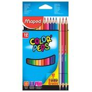Maped duo kleurpotloden Color'Peps, kartonnen etui met 12 + 3 stuks gratis in geassorteerde kleuren