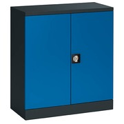 Cabinet with swinging doors Union H 100 cm body in anthracite doors in blue