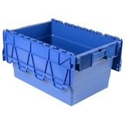 Bac de stockage navette avec couvercle en plastique bleu - 54 litres
