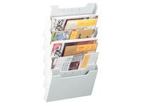 Wall organizer horizontal, 6 slots, grey
