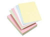 Assortment colored index cards 105 x 148 mm checked 5 x 5 - Box of 100