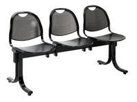 Vega 3 chairs on a beam width 150 cm - black metal