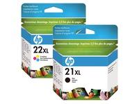 Pack van 2 cartridges HP 21XL zwart en 22XL kleur