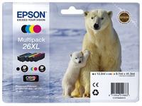 Pak van 4 cartridges Epson 26XL zwart + kleur