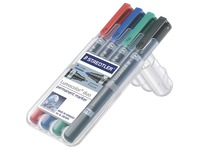 Permanent marker Staedtler Lumocolor duo fine cone tip 0.6 mm and 1.5 mm - Set of 4 assorted colours