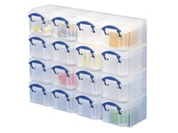 Really Useful Box Organiser mit 16 Plastikboxen 0,14 Liter - farblos