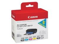 Pack cartridges 6 kleuren Canon PGI550BK - CLI551 voor inkjetprinter