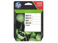 Pack cartridges HP 364 zwart en kleuren voor inkjetprinter