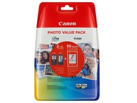 Canon PG-540 XL/CL-541XL Photo Value Pack - 2 - hoog rendement - zwart, kleur (cyaan, magenta, geel) - 50 vel(len) - inktcartridge / papierset