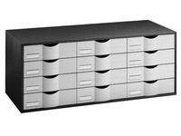 Black storage cupboard, with 12 grey drawers