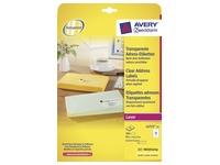 Avery étiquettes transparentes QuickPEEL ft 99,1 x 42,3 mm (l x h), 300 pièces, 12 par feuille