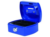 Coffret caisse Pavo avec fente tirelire 125x95x60mm bleu